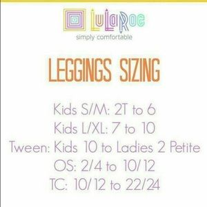 LulaRoe Size Chart for Leggings